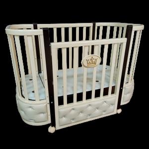 Детская кроватка Esenia 1 с кожаной вставкой